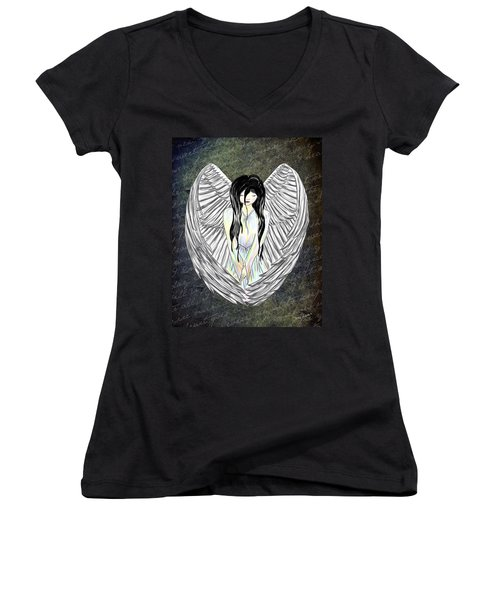 Sad Angel Women's V-Neck T-Shirt