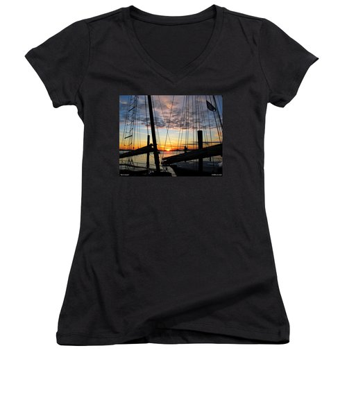 Sail At Sunset Women's V-Neck (Athletic Fit)