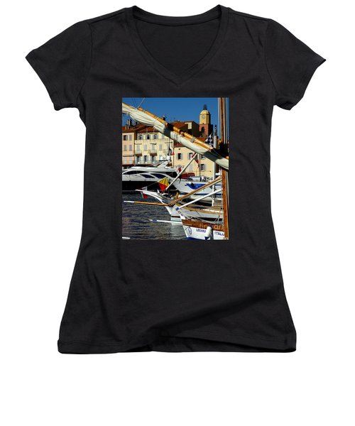 Saint Tropez Harbor Women's V-Neck T-Shirt (Junior Cut) by Lainie Wrightson