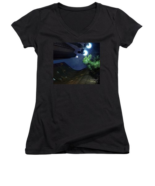 Copan Building And The Moonlight Women's V-Neck