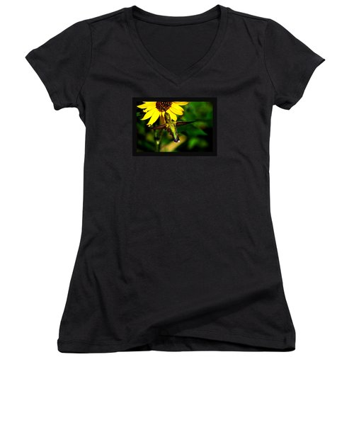 Women's V-Neck T-Shirt (Junior Cut) featuring the photograph Saturday Morning by Susanne Still