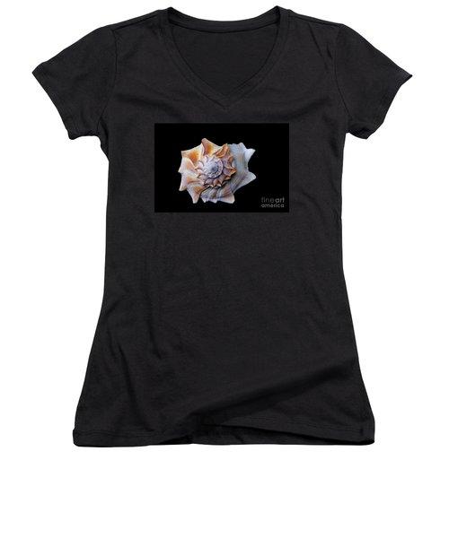 Women's V-Neck T-Shirt (Junior Cut) featuring the photograph Seashell 1 by Deniece Platt