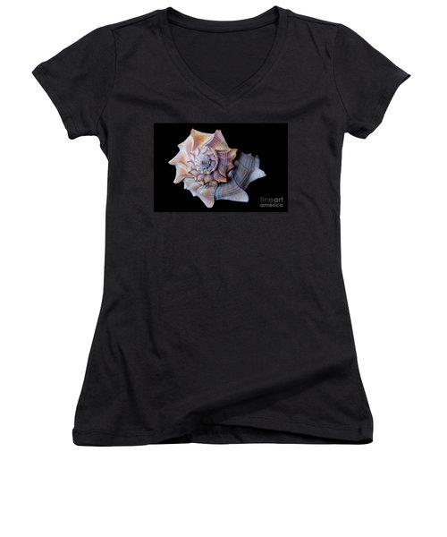 Women's V-Neck T-Shirt (Junior Cut) featuring the photograph Seashell 5 by Deniece Platt