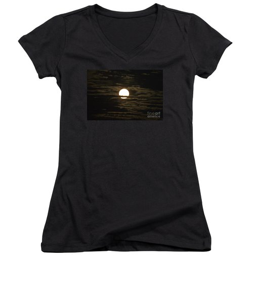 Women's V-Neck T-Shirt (Junior Cut) featuring the photograph Seneca Lake Moon by William Norton