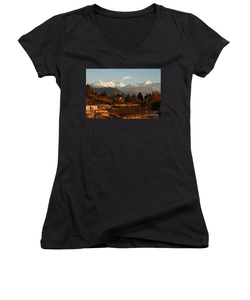 Women's V-Neck T-Shirt (Junior Cut) featuring the photograph Serenity by Fotosas Photography