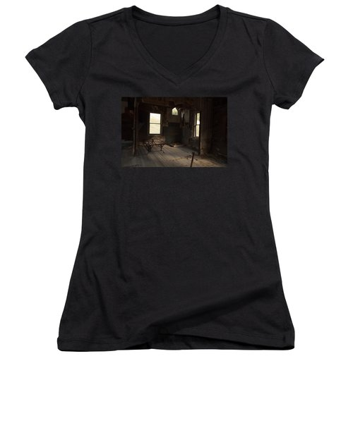 Women's V-Neck T-Shirt (Junior Cut) featuring the photograph Shadows Of Time by Fran Riley