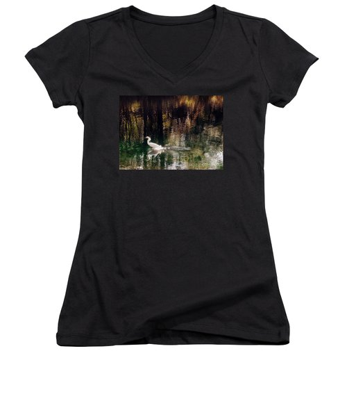 Women's V-Neck T-Shirt (Junior Cut) featuring the photograph Shadowwaters by Lydia Holly