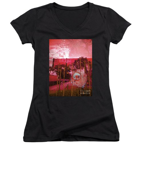 Women's V-Neck T-Shirt (Junior Cut) featuring the photograph Abstract Shattered Glass Red by Andy Prendy
