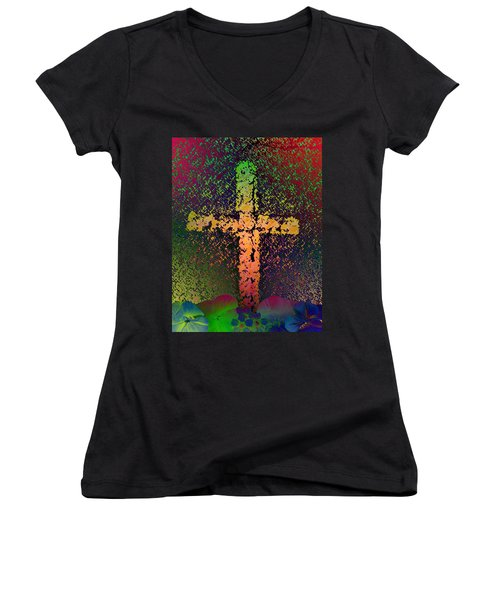Women's V-Neck T-Shirt (Junior Cut) featuring the photograph Sign Of The Cross by David Pantuso