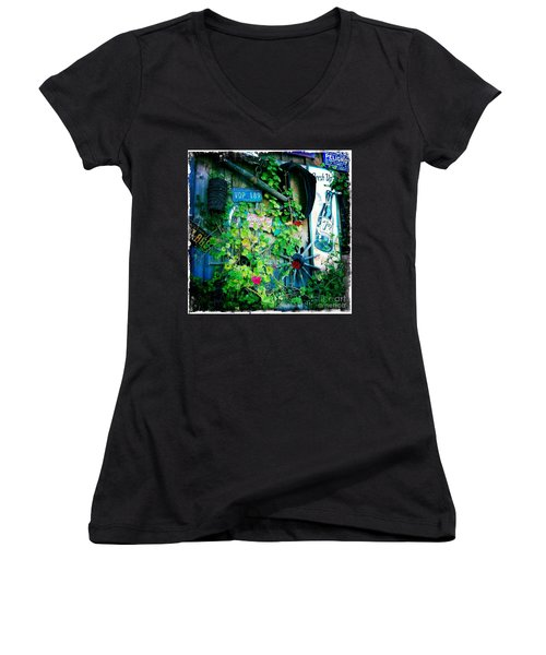 Women's V-Neck T-Shirt (Junior Cut) featuring the photograph Sign Wall by Nina Prommer