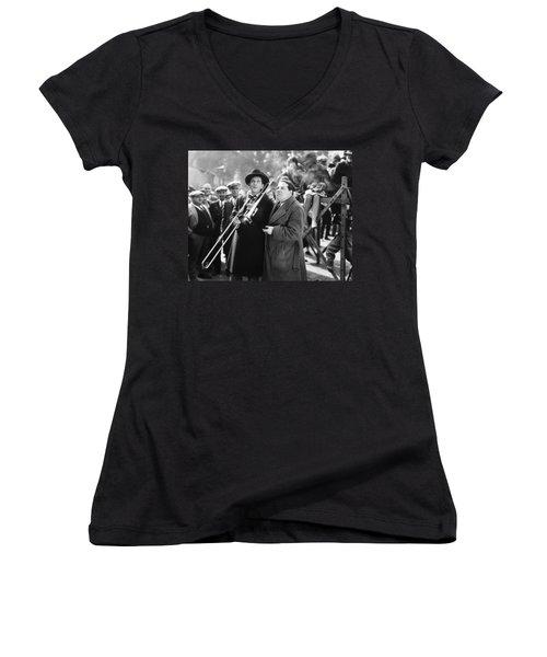 Silent Still: Musicians Women's V-Neck T-Shirt (Junior Cut) by Granger