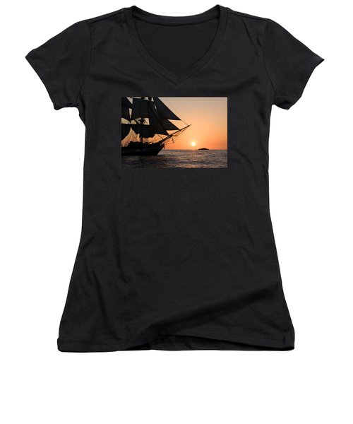 Silhouette Of Tall Ship At Sunset Women's V-Neck