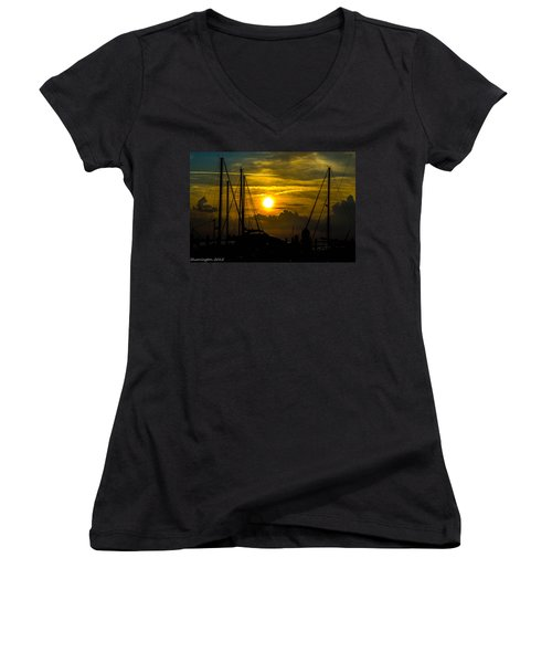 Silhouettes At The Marina Women's V-Neck (Athletic Fit)