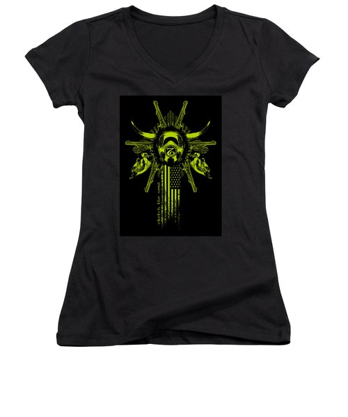 Six Shooter Women's V-Neck T-Shirt (Junior Cut) by Tony Koehl