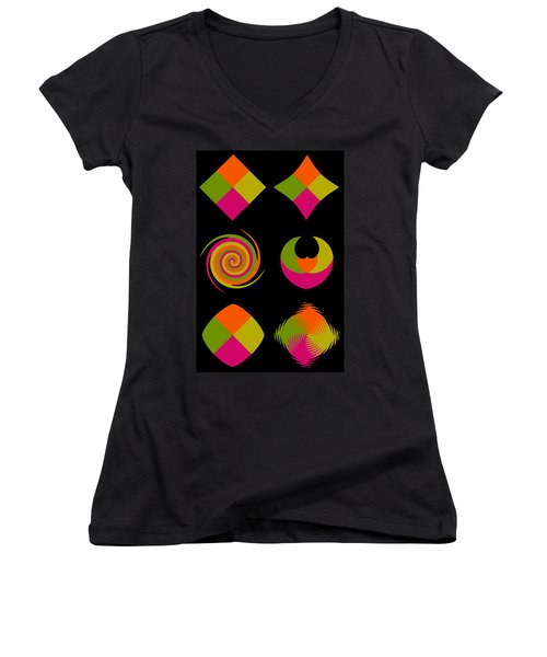 Women's V-Neck T-Shirt (Junior Cut) featuring the photograph Six Squared Collage by Steve Purnell