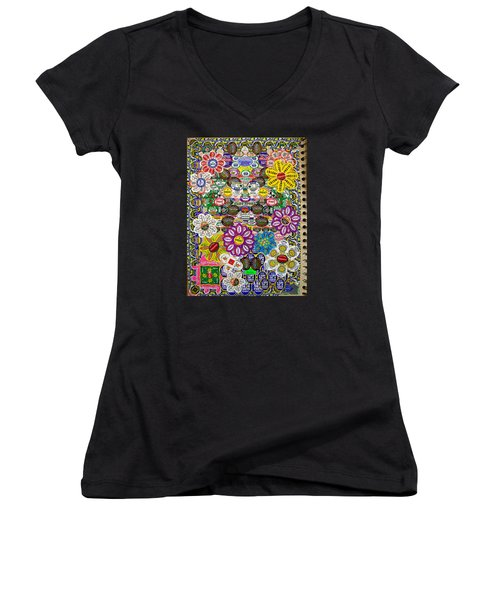 Sketchbook 3 Pg Back Of Cover Women's V-Neck T-Shirt (Junior Cut) by Cliff Spohn