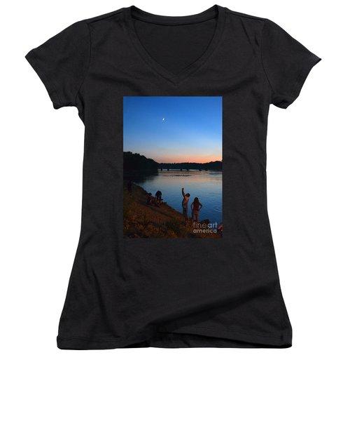 Skywatchers Women's V-Neck T-Shirt (Junior Cut) by Sue Stefanowicz