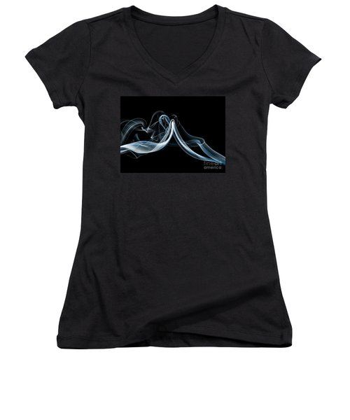 Women's V-Neck T-Shirt (Junior Cut) featuring the photograph Smoke-1 by Larry Carr