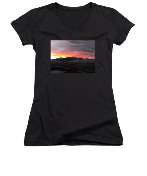 Snow Covered Mountain Sunset Women's V-Neck (Athletic Fit)