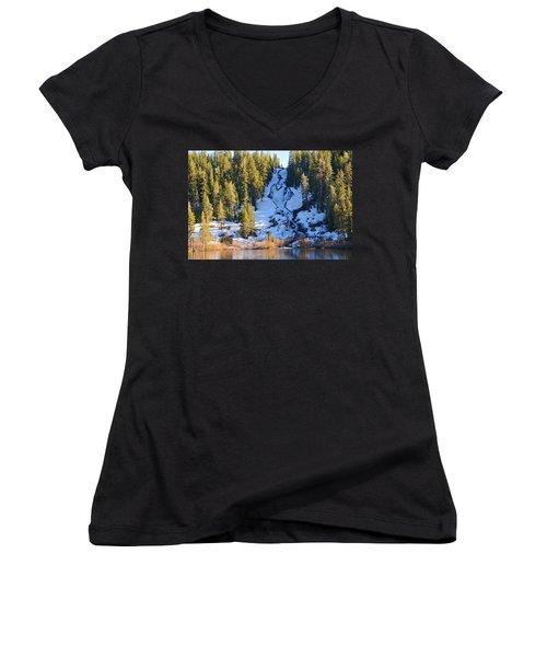 Women's V-Neck T-Shirt (Junior Cut) featuring the photograph Snowy Heart Falls by Lynn Bauer