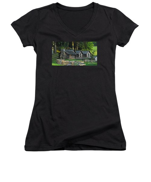 Women's V-Neck T-Shirt (Junior Cut) featuring the photograph Soldiers Quarters At Valley Forge by Cindy Manero