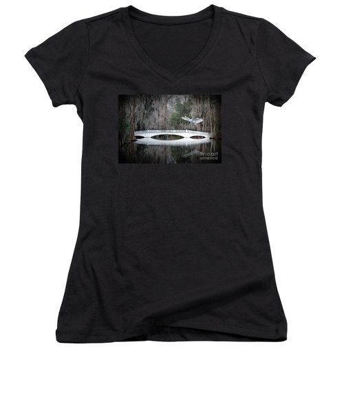 Women's V-Neck T-Shirt (Junior Cut) featuring the photograph Southern Plantation Flying Egret by Dan Friend