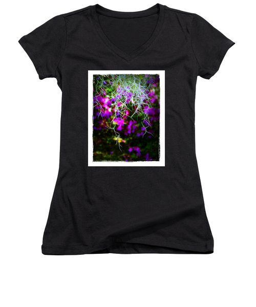 Women's V-Neck T-Shirt (Junior Cut) featuring the photograph Spanish Moss And Azaleas by Judi Bagwell