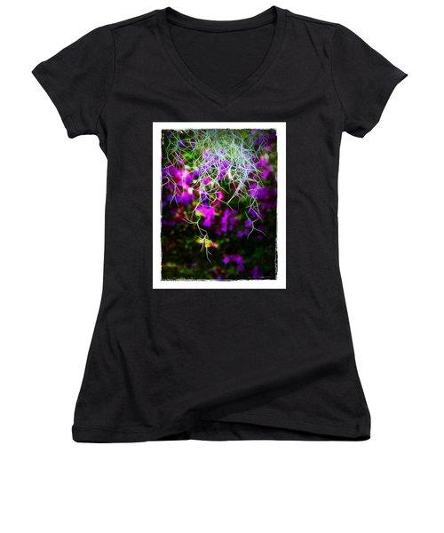Spanish Moss And Azaleas Women's V-Neck T-Shirt (Junior Cut) by Judi Bagwell