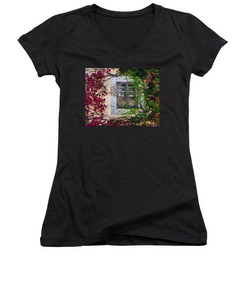 Women's V-Neck T-Shirt (Junior Cut) featuring the photograph Spanish Window by Don Schwartz