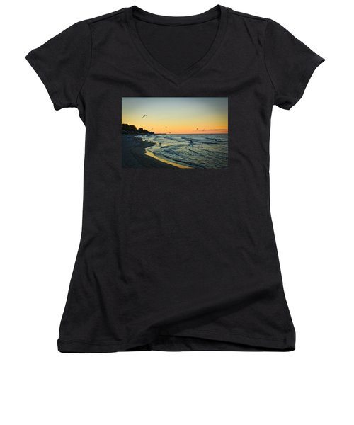 Women's V-Neck T-Shirt (Junior Cut) featuring the photograph Spirit's Journey by Sara Frank