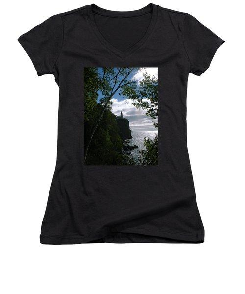 Women's V-Neck T-Shirt (Junior Cut) featuring the photograph Split Rock II by Bonfire Photography