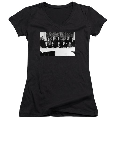 Sports Luncheon, 1930 Women's V-Neck T-Shirt (Junior Cut) by Granger