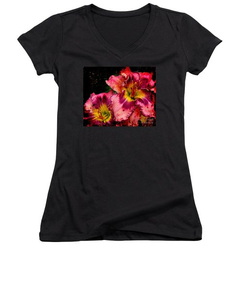 Women's V-Neck T-Shirt (Junior Cut) featuring the photograph Spring Blooms by Davandra Cribbie