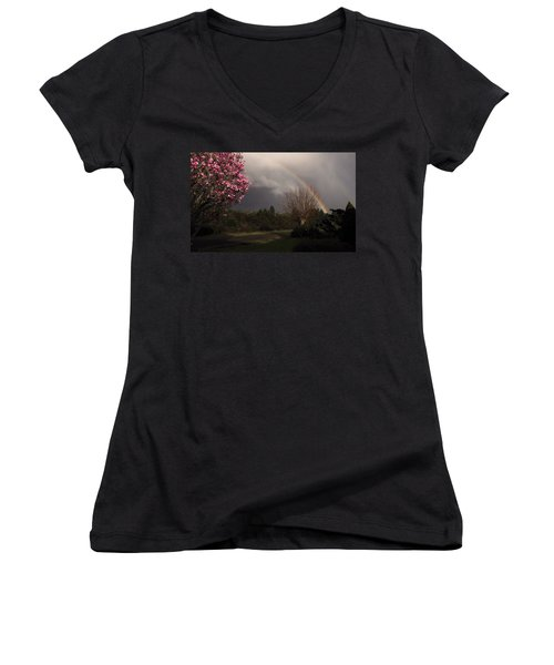 Women's V-Neck T-Shirt (Junior Cut) featuring the photograph Spring Rainbow by Katie Wing Vigil