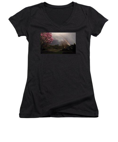 Spring Rainbow Women's V-Neck T-Shirt