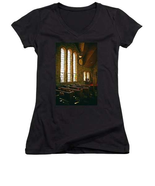 Women's V-Neck T-Shirt (Junior Cut) featuring the photograph St Malo Church by David Pantuso