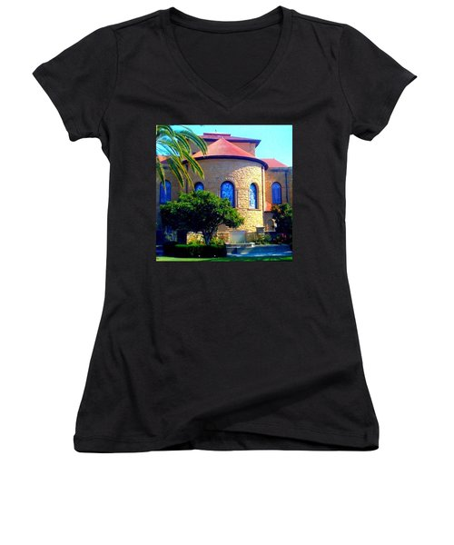 Stanford University Chapel - Palo Alto Ca Women's V-Neck T-Shirt (Junior Cut)