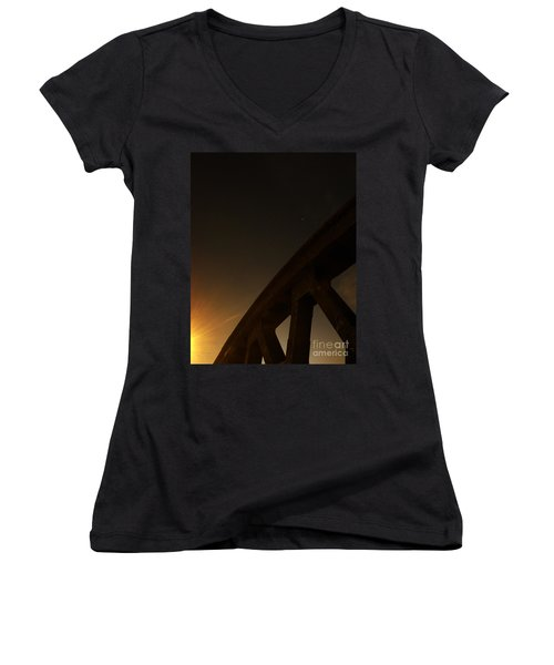 Women's V-Neck T-Shirt (Junior Cut) featuring the photograph Starry Night On Sunset Bridge by Andy Prendy