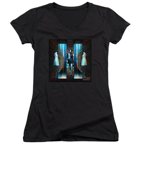 Women's V-Neck T-Shirt (Junior Cut) featuring the digital art Steel Eyes Mannequin by Rosa Cobos