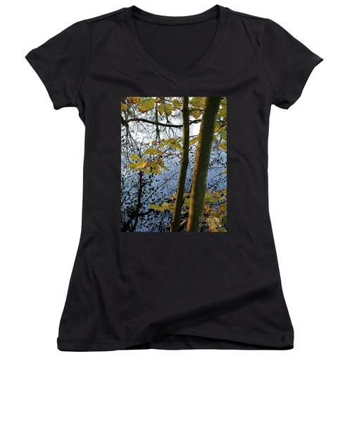 Still Waters In The Fall Women's V-Neck T-Shirt (Junior Cut) by Andy Prendy