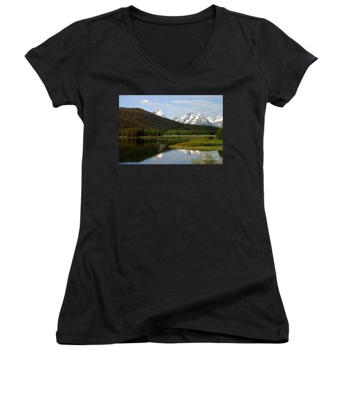 Still Waters Women's V-Neck T-Shirt (Junior Cut) by Living Color Photography Lorraine Lynch