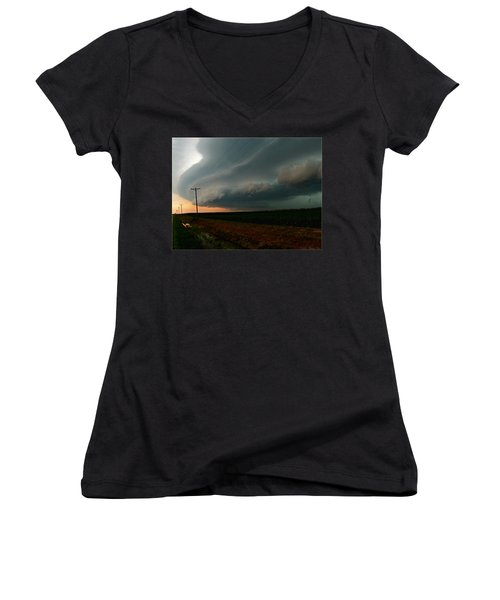 Women's V-Neck T-Shirt (Junior Cut) featuring the photograph Storm Front by Debbie Portwood