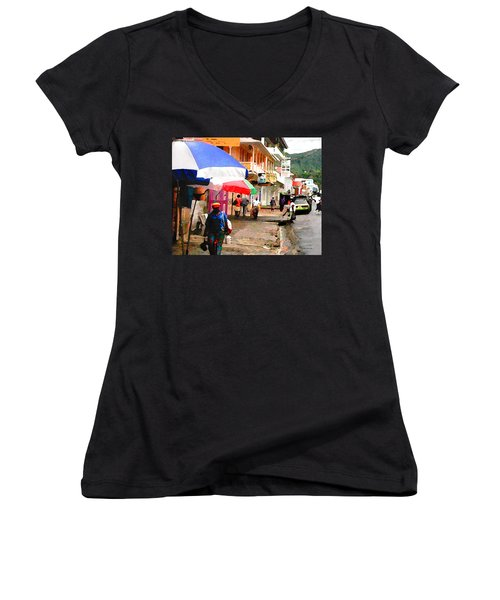 Street Scene In Rosea Dominica Filtered Women's V-Neck (Athletic Fit)