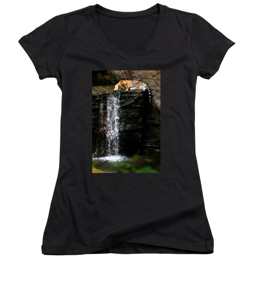Strength At Rest Women's V-Neck T-Shirt (Junior Cut) by Angela Rath