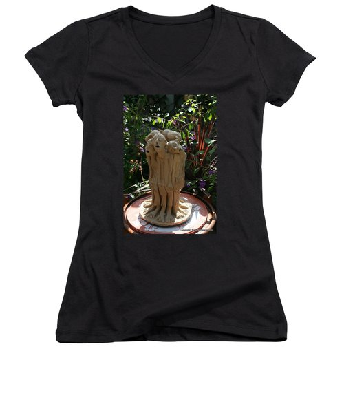 Suffering Circle Ceramic Sculpture Brown Clay  Women's V-Neck T-Shirt