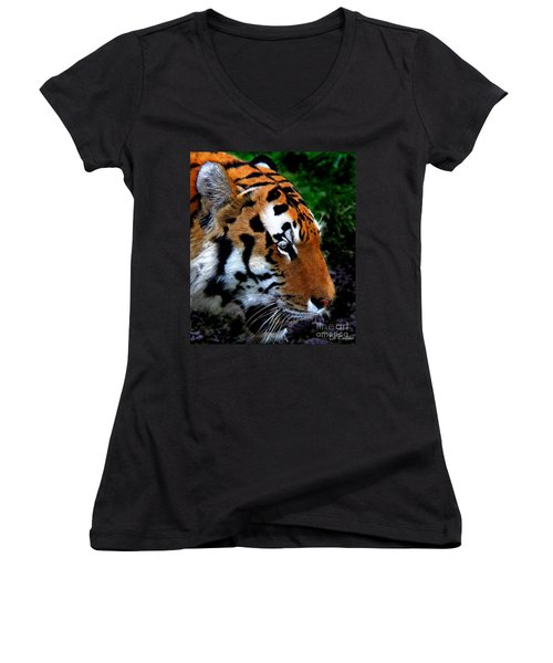 Women's V-Neck T-Shirt (Junior Cut) featuring the photograph Sumatran Strength by Davandra Cribbie