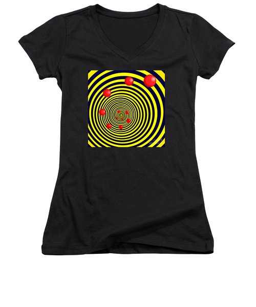 Summer Red Balls With Yellow Spiral Women's V-Neck