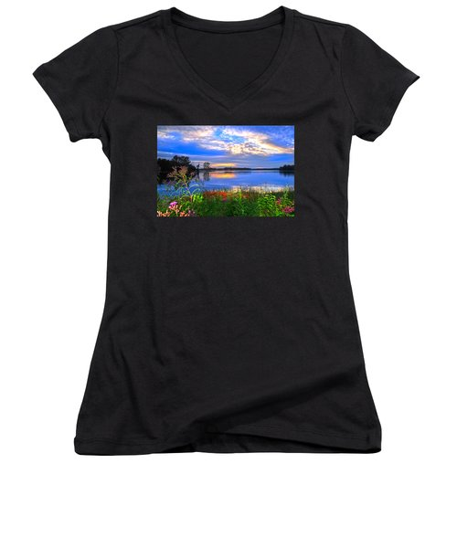 Women's V-Neck T-Shirt (Junior Cut) featuring the photograph Summertime Walk Around Lake  by Randall Branham