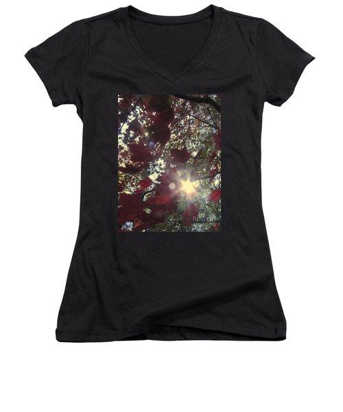 Women's V-Neck T-Shirt (Junior Cut) featuring the photograph Sun Shine Through by Donna Brown