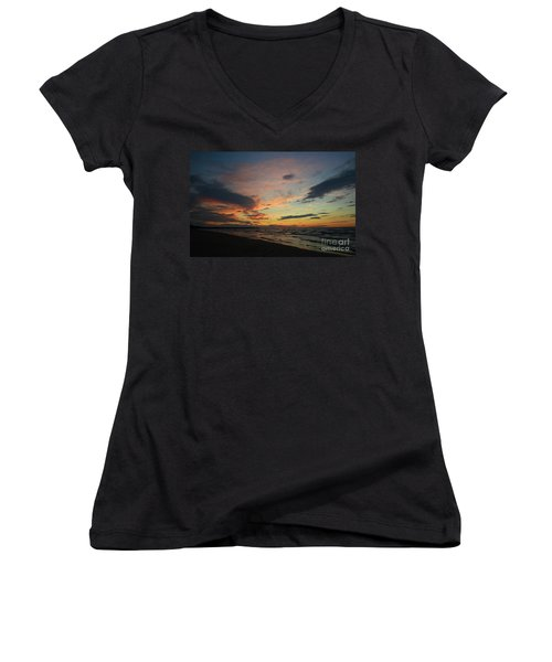 Women's V-Neck T-Shirt (Junior Cut) featuring the photograph Sundown  by Barbara McMahon